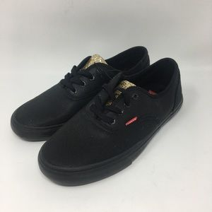LEVIS Glitter Black Canvas Sneakers Size 10